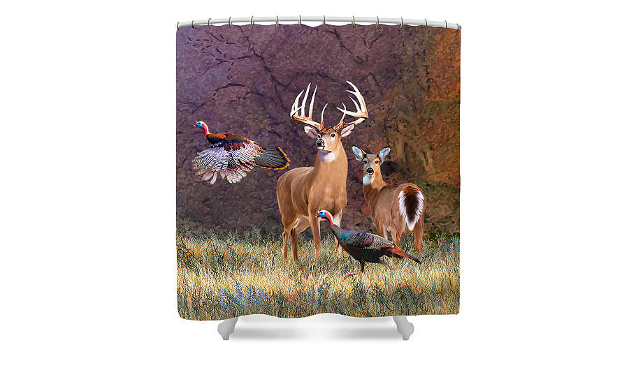 Deer Shower Curtains Bathroom Decor Featuring The Whitetail Painting Heartbeat Of America
