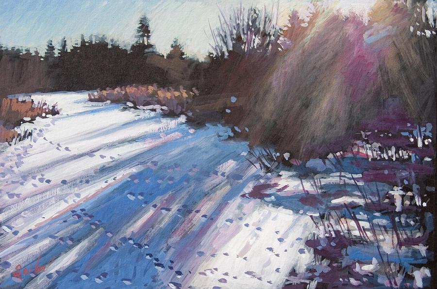 Gouache Painting - Deer Tracks Snowy River by Larry Seiler