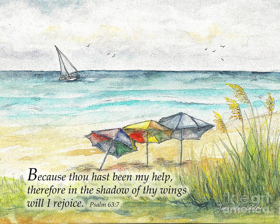 Beach Digital Art - Deerfield Beach Umbrellas Psalm 63 by Janis Lee Colon