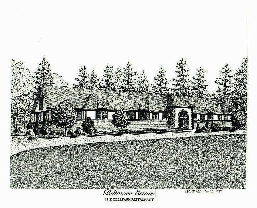 Biltmore Estate Drawing - Deerpark Restaurant on Biltmore Estate by Lee Pantas
