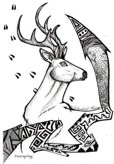 Deer Drawing - Deerspring by Eric Kee