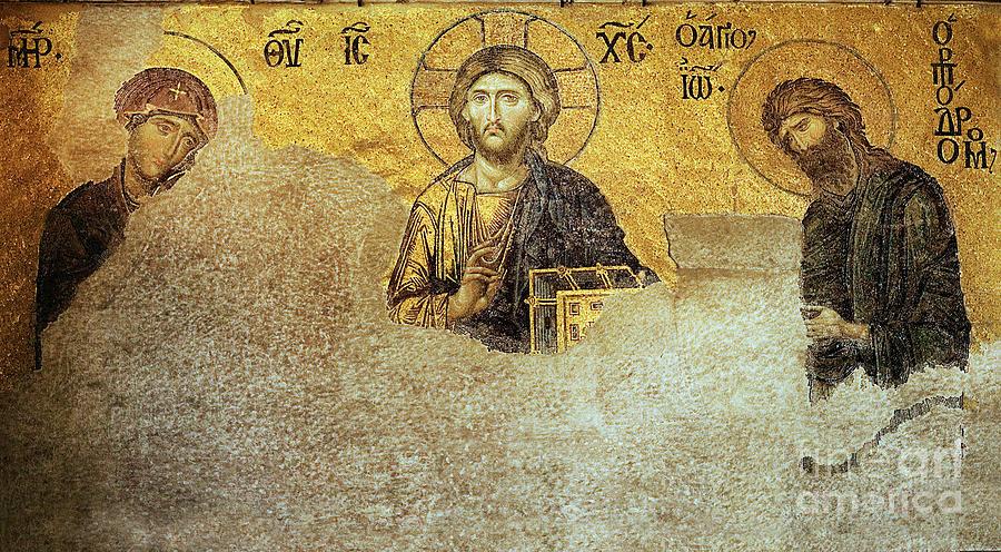 Christ Pantocrator Photograph - Deesis Mosaic Hagia Sophia-christ Pantocrator-judgement Day by Urft Valley Art
