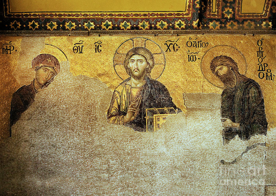 Christ Pantocrator Photograph - Deesis Mosaic Hagia Sophia-christ Pantocrator-the Last Judgement by Urft Valley Art