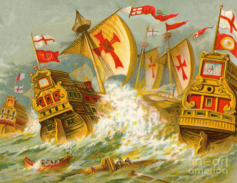 Defeat of the Spanish Armada Painting by English School