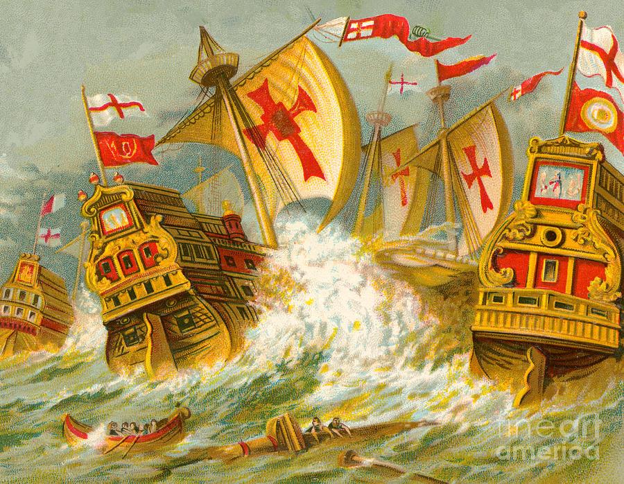 Spanish Armada Painting - Defeat of the Spanish Armada by English School
