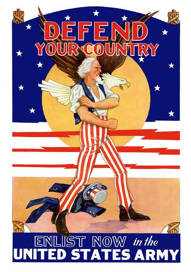 Uncle Sam Painting - Defend Your Country Enlist Now  by War Is Hell Store