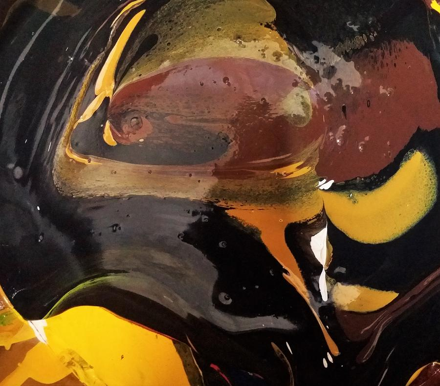 Abstract Expressionism Painting - Defender Of The Universe Eating Sour Cream by Gyula Julian Lovas
