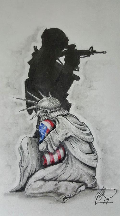Liberty Drawing - Defending Liberty by Howard King