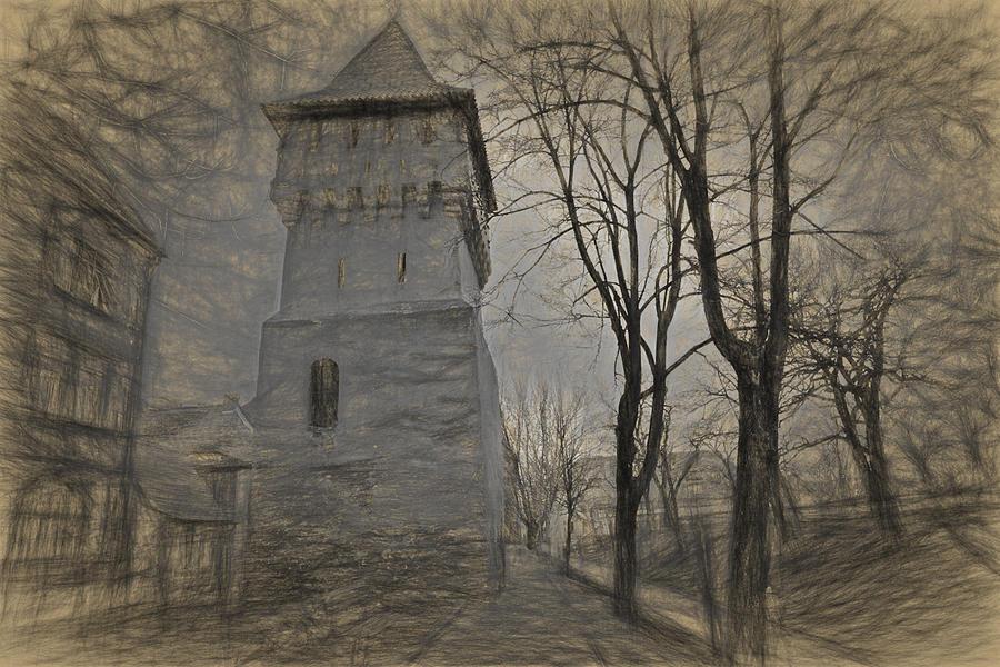 Ancient Photograph - Defense Town Sibiu Romania by Adrian Bud