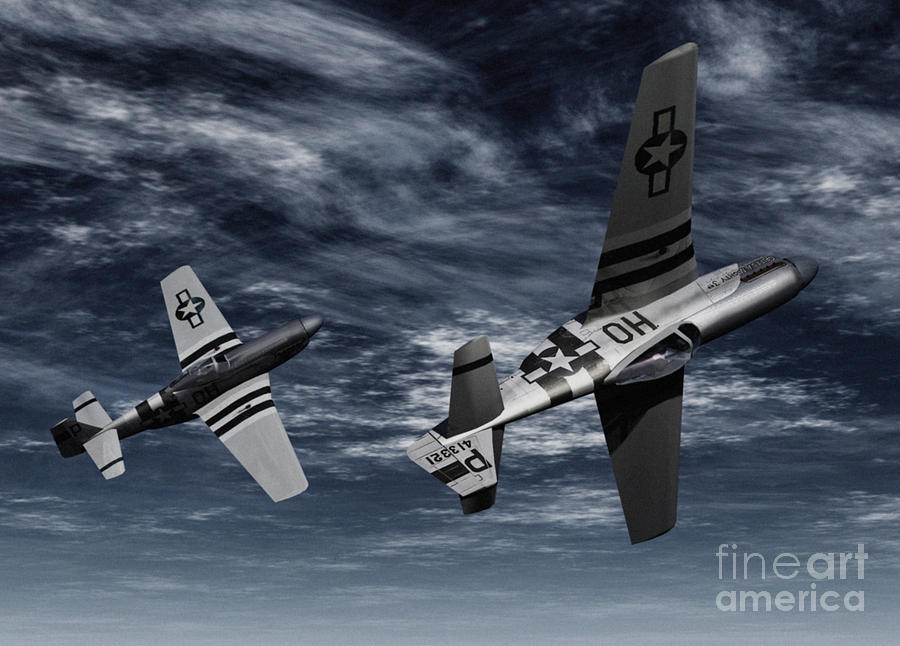 Warbirds Digital Art - Defensive Split  by Richard Rizzo