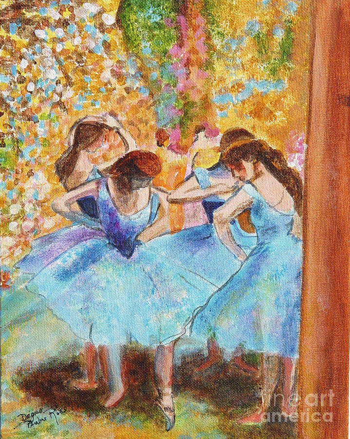 Dancers Painting - Degas Dancers In Blue by Pauline Ross