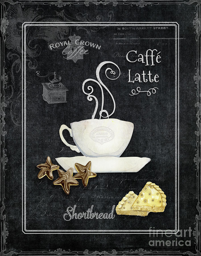Coffee Cup Painting - Deja Brew Chalkboard Coffee 2 Caffe Latte Shortbread Chocolate Cookies by Audrey Jeanne Roberts