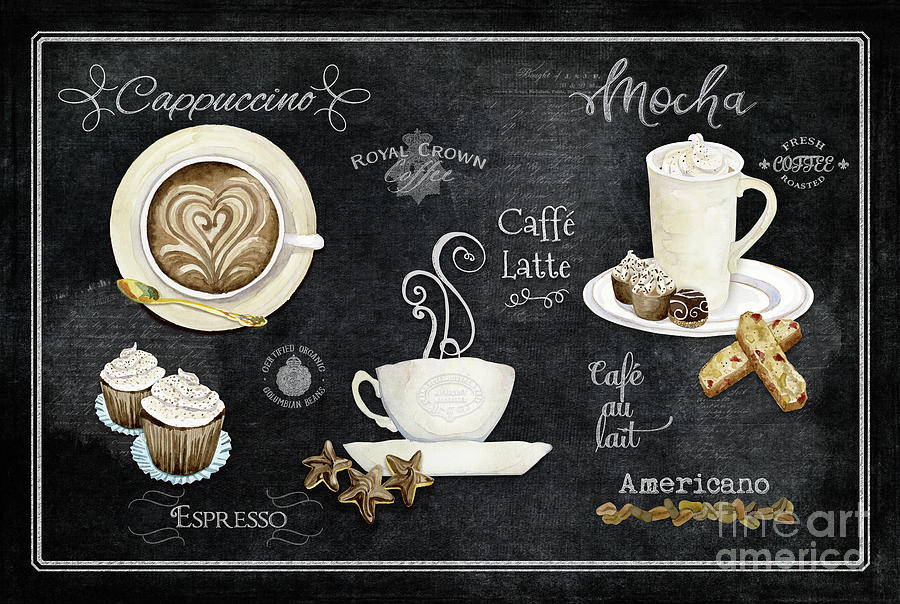 Coffee Beans Painting - Deja Brew Chalkboard Coffee Cappuccino Mocha Caffe Latte by Audrey Jeanne Roberts