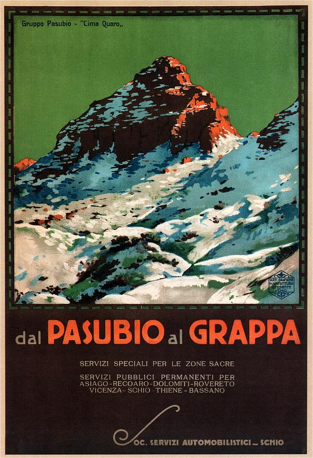 Vicenza Mixed Media - Del Pasubio al Grappa - Veneto, Italy - Retro travel Poster - Vintage Poster by Studio Grafiikka