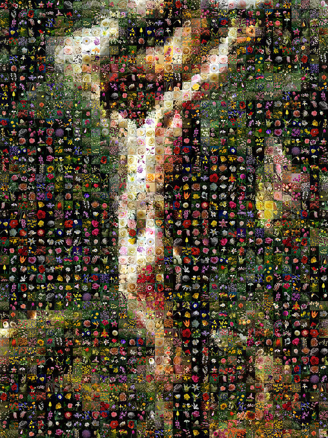 Mosaic Digital Art - Delacroix - Christ On The Cross by Gilberto Viciedo