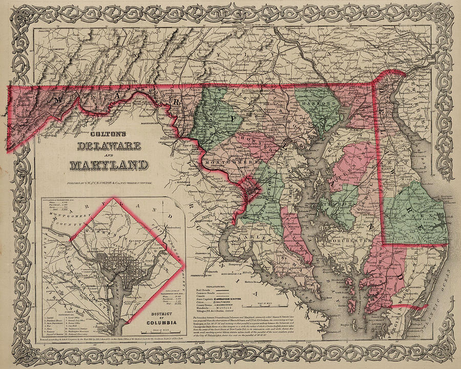 Maryland Map Painting - Delaware And Maryland by Colton
