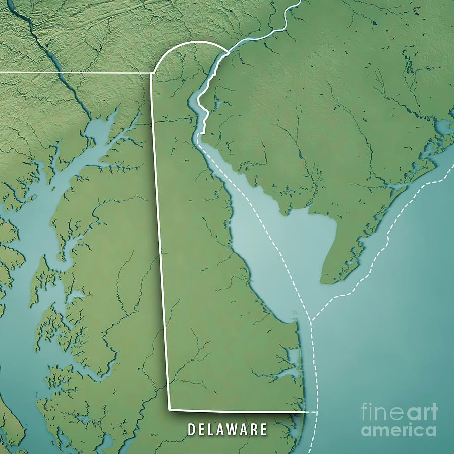 Delaware State Usa 3d Render Topographic Map