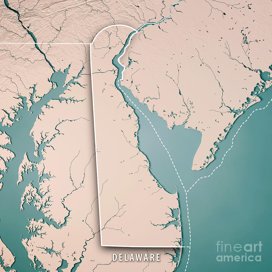 Delaware State Usa 3d Render Topographic Map Neutral Border ... on