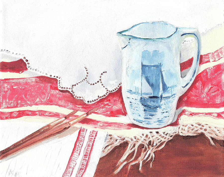 Pitcher Painting - Delft And Linens by Kathryn B