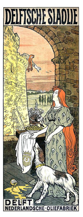 Delftsche Slaolie - Salad Oil - Vintage Advertising Poster Mixed Media