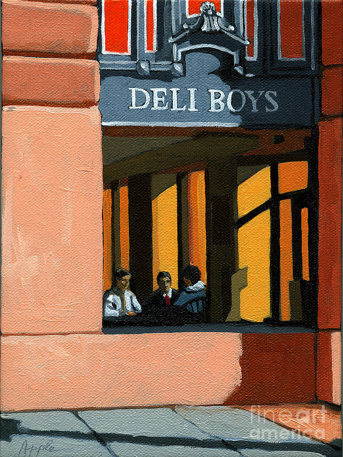 Cafe Painting - Deli Boys - Cafe by Linda Apple