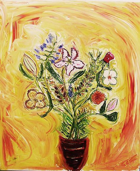 Vase Painting - Delias Flowers by Ian  Fruehauf