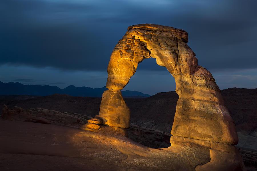 America Photograph - Delicate Arch At Night by Adam Romanowicz