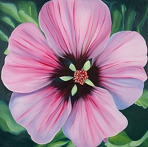 Flower Painting - Delicate Lavatera by Marian Gliese