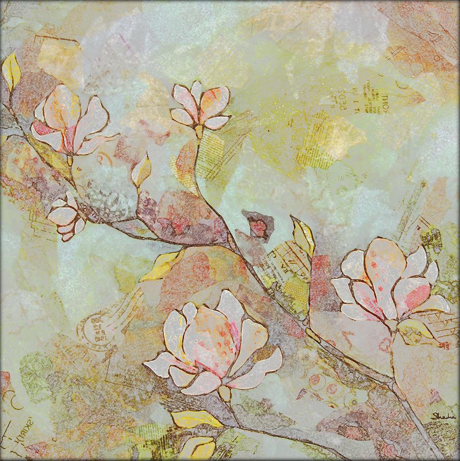 Magnolia Painting - Delicate Magnolias by Shadia Derbyshire