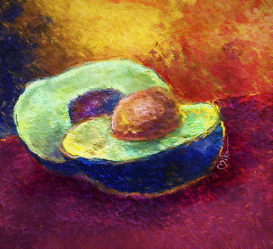 Avocado Photograph - Delicious, A Buttery Avocado by Miko At The Love Art Shop