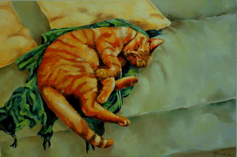 Sleeping Cat Painting - Delicious Sleep by Jolante Hesse
