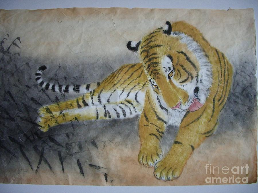 Tiger Painting - Delightful by Jian Hua Li