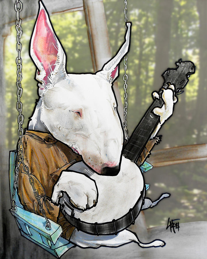Deliverance Bull Terrier Caricature Art Print Drawing By John LaFree - Bull terrier art