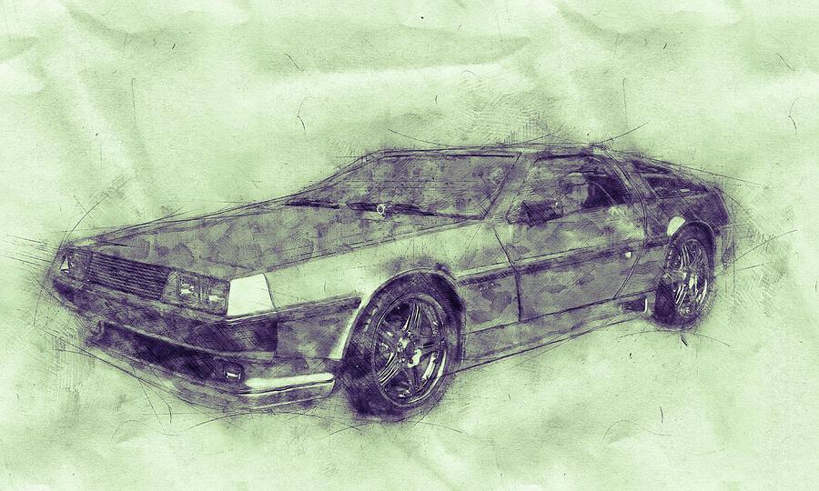 Delorean Dmc-12 - Sports Car 3 - Automotive Art - Car Posters Mixed Media