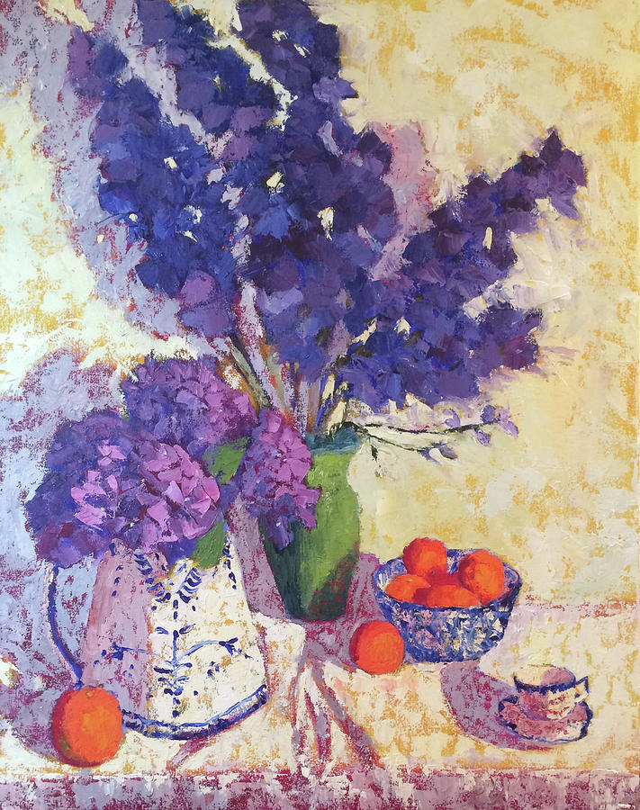 Delphiniums Painting - Delphinium Blues by Roxanne Steed