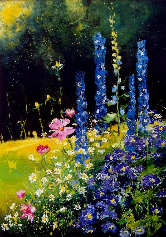 Poppies Painting - Delphiniums by Pol Ledent