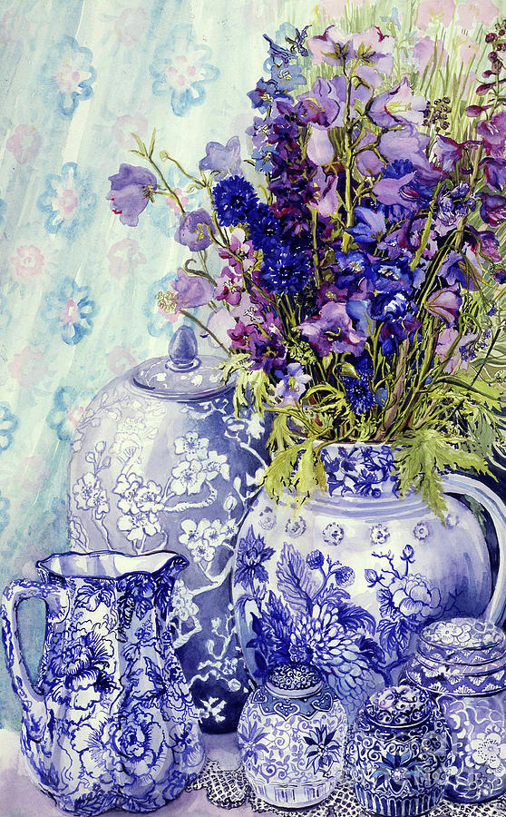 Delphiniums Painting - Delphiniums With Antique Blue Pots by Joan Thewsey