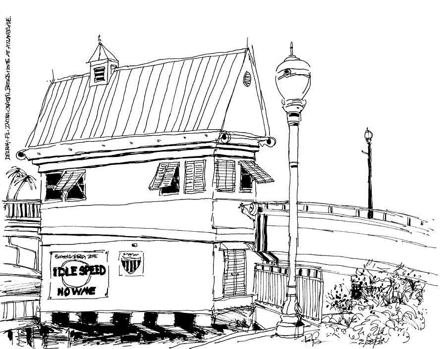 delray beach intracoastal bridge tender house drawing by robert birkenes - Beach House Drawings