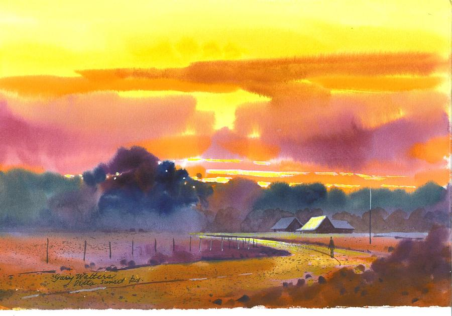 Delta Sunset Rd. Painting by Gary Walters