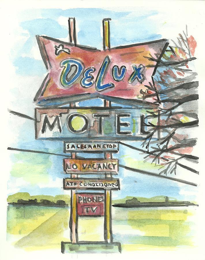 Vintage Painting - Delux Motel by Matt Gaudian