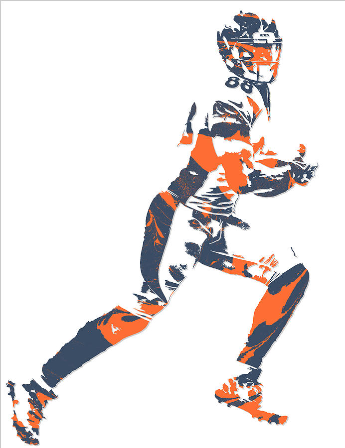 Demaryius Thomas Denver Broncos Pixel Art 10 Mixed Media by Joe Hamilton