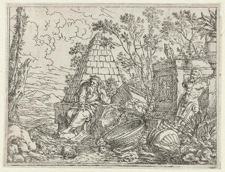 Nature Painting - Democritus Mediterend, Jonas Umbach, 1634 - 1693 by Jonas Umbach