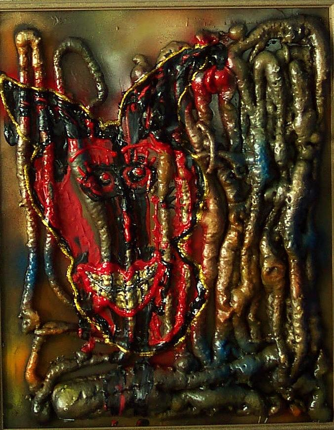 Skull Painting - Demon Inside by Lisa Piper