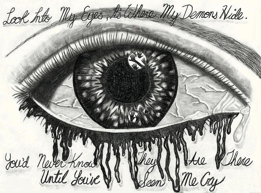 Demons In My Eyes Drawing By Joce Ruston