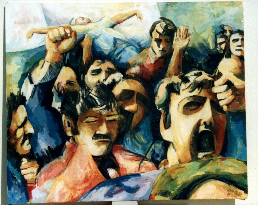 Art In Lebanon Painting - Demonstration - Art In Lebanon by Zaher Bizri