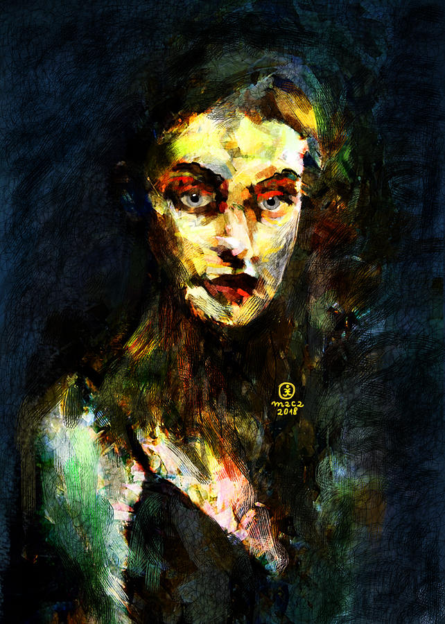 Woman Painting - Denebris Impression Portrait 672 by Maciej Mackiewicz