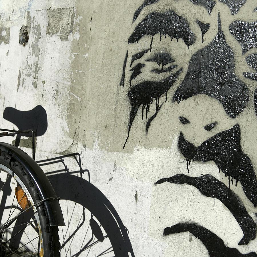 Bicycle Photograph - Denmark, Copenhagen Graffiti On Wall by Keenpress