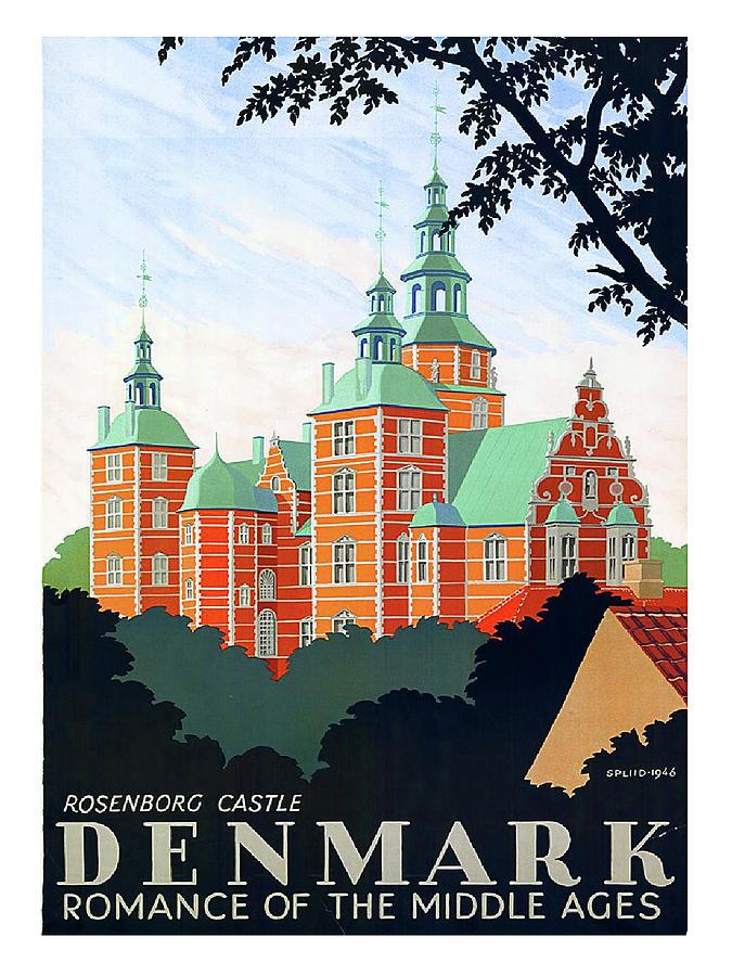 Denmark Painting - Denmark, Rosenborg Castle, Vintage Travel Poster by Long Shot