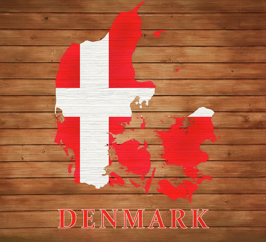 Denmark Map Mixed Media - Denmark Rustic Map On Wood by Dan Sproul