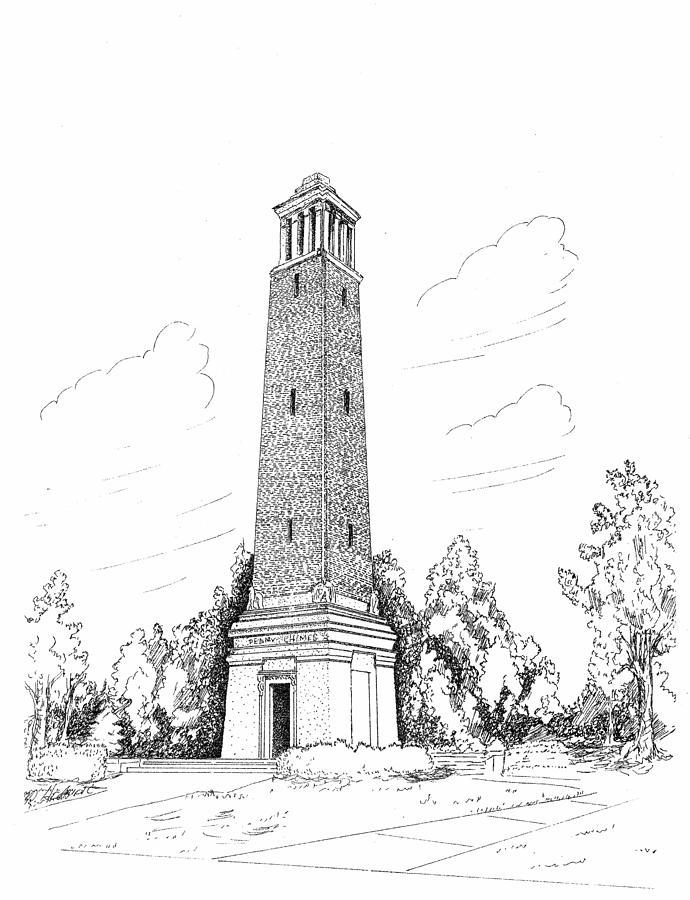 University Of Alabama Drawing - Denney Chimes by Barney Hedrick